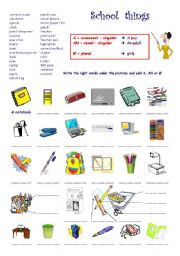 English Worksheet: School things  +  A / AN / no article