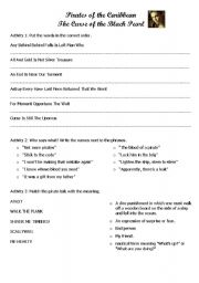 Pirates of the Caribbean Worksheet 3