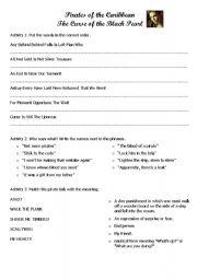 English Worksheet: Pirates of the Caribbean Worksheet 3