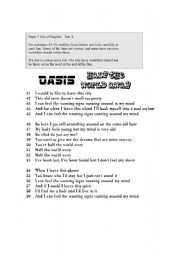 English Worksheets: Oasis: Half the world away