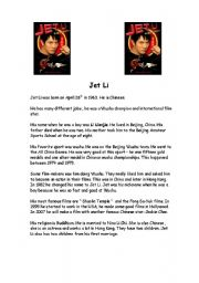 English Worksheets: Jet Li