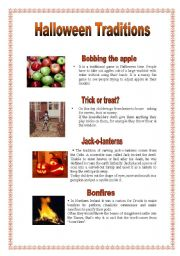 English Worksheets: Halloween Traditions - 1 (29.08.08)