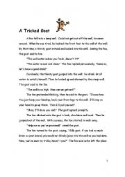 English Worksheets: A Triciked Goat