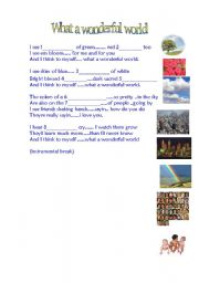 English Worksheets: Song WHAT A WONDERFUL WORLD