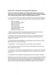 English Worksheets: Small Talk: Asking and Answering Basic Questions