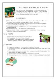 English Worksheet: BOOK REPORT PROJECTS