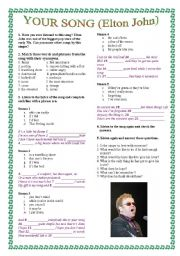 English Worksheet: Your song by Elton John