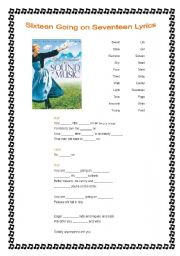 English worksheets: YOU ARE SIXTEEN GOING ON SEVENTEEN (THE SOUND ...