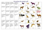 English Worksheets:  Do you know the animals well?