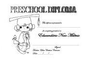 English Worksheet: Preschool Diploma