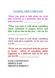 English Worksheets: talking about the past