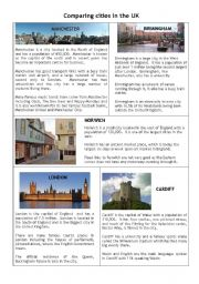 English Worksheets: Comparing cities in the Uk