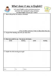 English Worksheets: What does it say in English?