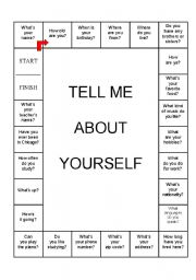 Games worksheets gt board games gt tell me about yourself board game