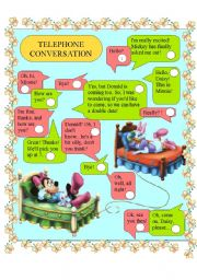 English Worksheet: MINNIE & DAISY - telephone conversation