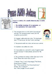 English Worksheet: Puns and Jokes