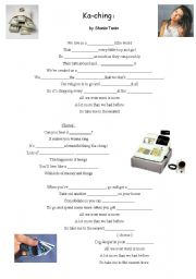 English Worksheet: song ka ching by shania twain / about affluent society