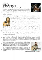 English Worksheets: reading comprehension about a musical school