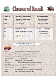 English Worksheets: Clauses of Result