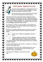 English Worksheet: Halloween Superstitions