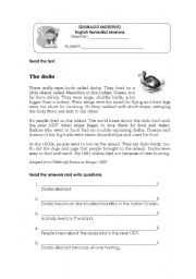 English Worksheets: The Dodo birds