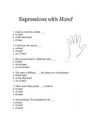 English Worksheets: Expression with hands_std