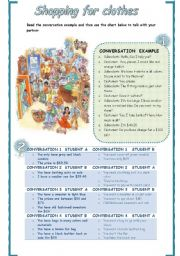 English Worksheet: Shopping for clothes Roleplay activity