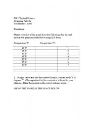 English Worksheet: Graphing Temperature