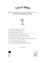 English Worksheets: True or false about your new teacher