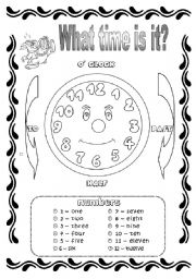 English Worksheet: Time and Hours