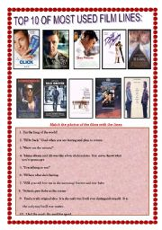 English Worksheets: Most Famous Film Lines with key Number 1