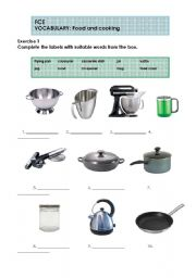 English Worksheet: FCE - Food and cooking