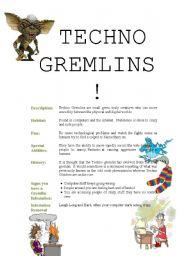 English Worksheets: TECHNO GREMLINS