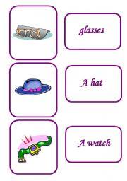 English Worksheets: clothes memory game / last sets