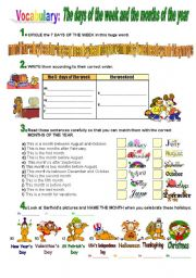 English Worksheet: Days of the Week & Months of the Year
