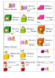 English Worksheet: Preposition flash cards of place - Garfield