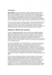 English Worksheets: Indian English - article