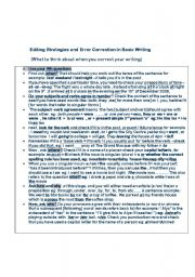 English Worksheet: Writing- What to think about when editing your writing and a checklist