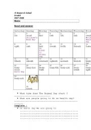 English Worksheets: calender