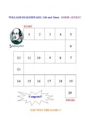 English worksheet: Willian Shakespeare: Works and life
