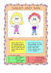 English Worksheet: Sam and Sarah - HIS or HER