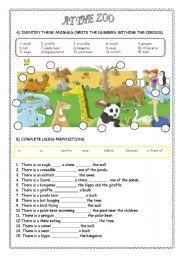 English Worksheets: AT THE ZOO