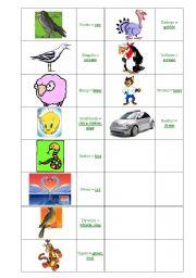 English Worksheets: animal cries