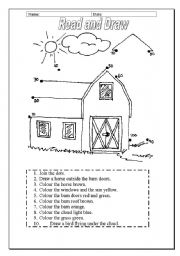 English worksheets: READ AND DRAW