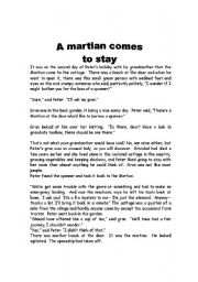 English Worksheets: readint about martians