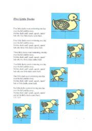English Worksheet: Five little ducks activity