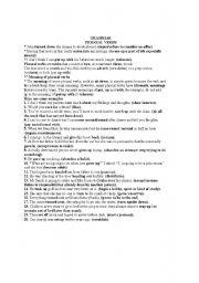 English worksheet: pharsal verbs