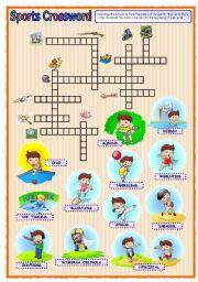 English Worksheet: Sports 1: Crossword (01.09.08)