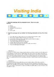 English worksheet: Visiting India Reading Worksheet