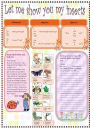 English Worksheet: let me show you my insects.(four skills) jam family´ s insect collection
